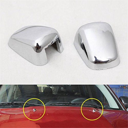 FMtoppeak Silver 2pcs Front Windshield Washer Wiper Spray Nozzle Trim Cover for 2007-2016 Jeep Compass/Patriot/Grand Cherokee/Cherokee (Windshield Washer Nozzle Cover compare prices)
