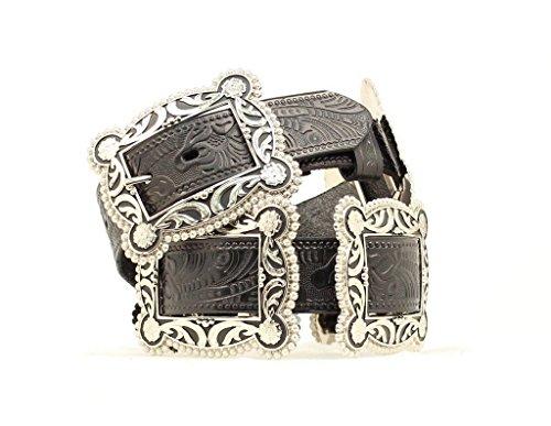 Nocona Women's Sliding Conchos Leather Hip Belt Black Medium (Concho Belts For Women compare prices)