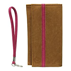 Jo Jo A5 Nillofer Leather Wallet Universal Pouch Cover Case For Micromax A55 Bling 2 Tan Pink