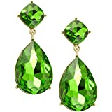 Heirloom Finds Pear and Cushion Cut Green Crystal Dangle Earrings Gold Tone