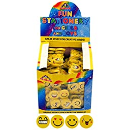 Henbrandt Yellow Emoji Rubbers/Erasers (Box Of 120) (One Size) (Yellow)