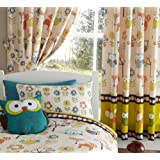 """WOODLAND CREATURES OWLS LUXURY FULLY LINED CURTAINS SET 66"""" X 72"""" MATCHES DUVET"""