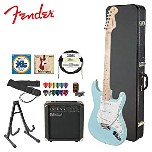 starcaster by fender jf 028 0002 504 kit 4 daphne blue electric guitar with stand. Black Bedroom Furniture Sets. Home Design Ideas