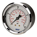 WIKA 9690489 Commercial Pressure Gauge, Dry-Filled, Copper Alloy Wetted Parts, 2