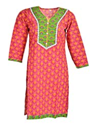 Global Women's Cotton Straight Kurta (GW02Pink40, Pink, 40)
