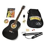 4/4 Akustik Gitarre Westerngitarre in Schwarz mit Tasche und Zubehör + LCD Clip Stimmgerät + Guitar Basics Buch mit CD