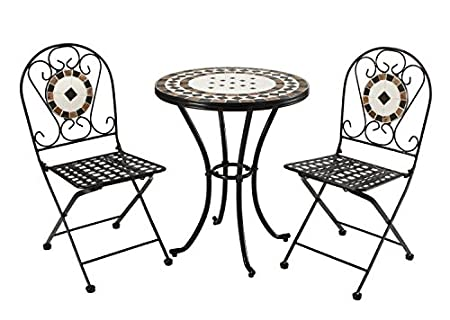 Rimini Hand Made Mosaic and Steel Patio furniture - round table + chairs