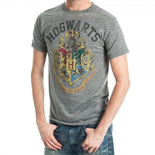 Harry Potter Hogwarts Crest Adult T-Shirt - Grey (X-Large)