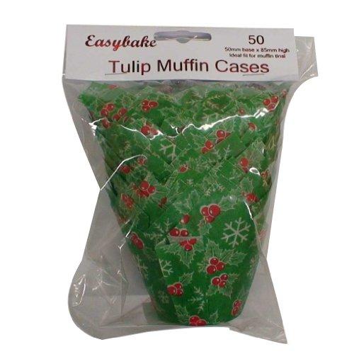 50 moldes para magdalenas de Navidad Holly Tulip