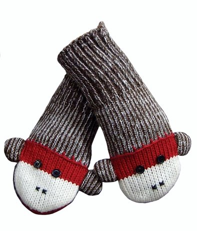 Sock Monkey Mittens Youth / Adult Fits Most - 1