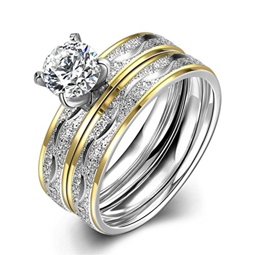 HMILYDYK-Acciaio inossidabile Sparkle con zirconi 2pc un set anello di fidanzamento Wedding Band taglia 6-9, acciaio inossidabile, 11, cod. GUTGR063-A-6