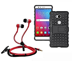 Droit Shock Proof Protective Bumper back case with Flip Kick Stand for Huaweai Honour 5X + Stylish zipper hand free for all smart phones by Droit Store.