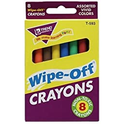 Trend Enterprises Regular Wipe Off Crayons, 8 Pack - Trend Enterprises Regular Wipe Off Crayons, 8 Packwipe-Off Crayons Let You Easily Write On, Wipe Off And Clean Up. Allow You To Make Smooth, Smudg