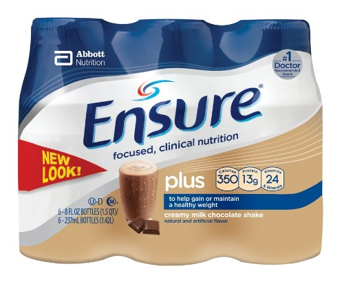 Ensure Plus Complete Balanced Nutrition Drink, Ready to Use, Creamy Milk Chocolate Shake, 24-8 Fluid Ounce Bottles
