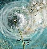 "Jada Venia / Kindred Hearts - Inspirational Accent Lamp / Light Box Insert: ""Just Breathe (Dandelion)"" (9 3/4"" x 7 1/2"") - #1-293"