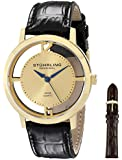 Stuhrling Original Men's 388G2.SET.02 Winchester Cathedral 23k Yellow Gold-Plated Stainless Steel Watch with Additional Leather Strap