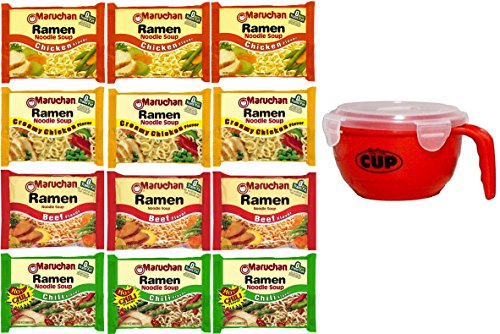 Maruchan Ramen Variety 4 flavors, Pack of 12 + By The Cup Soup Bowl (Ramen Noodle Chili compare prices)