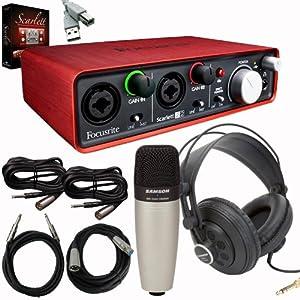 focusrite scarlett 2i2 usb audio recording interface bundle with samson c01sr850 headphones. Black Bedroom Furniture Sets. Home Design Ideas