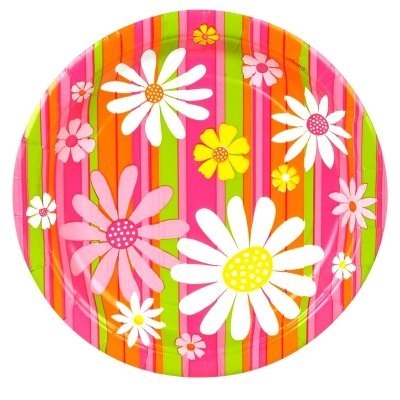 Daisy Stripe Dinner Plates - 1
