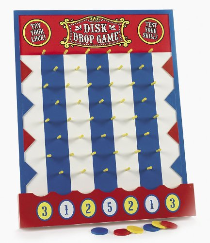 wooden disk drop game plinko style carnival birthday party