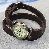 KANO BAK Quartz Fashion Weave Wrap Around Leather Retro Bracelet Woman's Wrist Watch Keep Brown