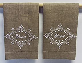 Embroidered Beige Guest Hand Towels - Set of 2