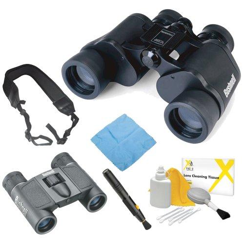 Bushnell 133410 Falcon 7X35Mm Instafocus Porro Prism Binoculars + Powerview 8X21Mm Folding Roof Prism Binoculars + Accessory Kit