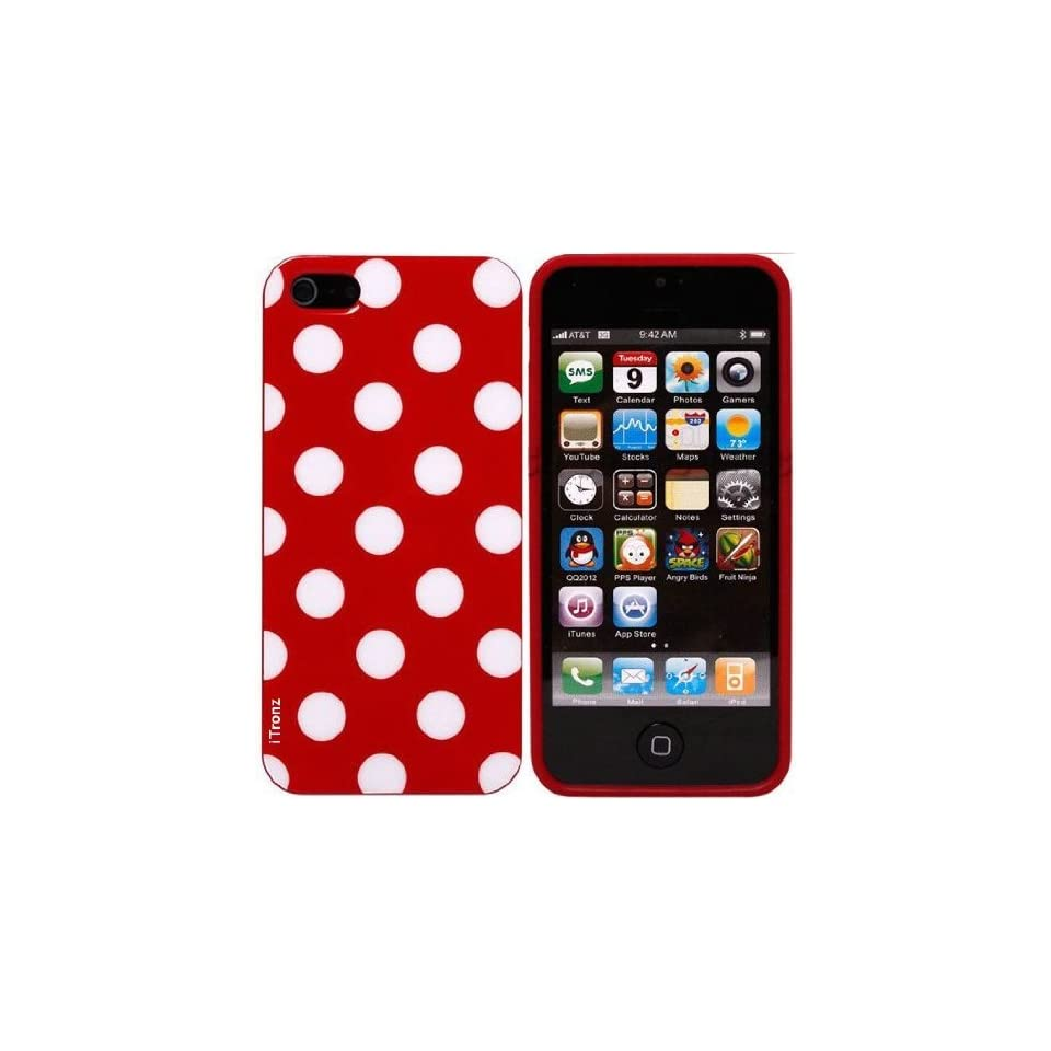 YIKING Red White Polka Dots Pattern Soft Candy Skin TPU Gel Case Cover Faceplate For Apple iPhone 5((AT&T, Verizon, Sprint)