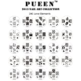 PUEEN 2013 Nail Art Stamp Collection Set 24E - LOVE ELEMENTS - NEW Unique Set of 24 Nailart Polish Stamping Manicure Image Plates Accessories Kit (Totaling 144 Images) with BONUS Storage Case