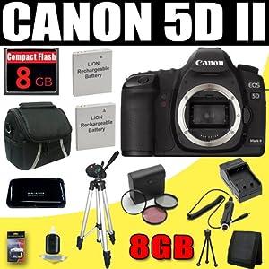 Canon EOS 5D Mark II 21.1MP Full Frame CMOS Digital SLR Camera + 8GB Deluxe Accessory Kit