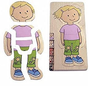 Hape - Your Body - Girl 5-Layer Wooden Puzzle