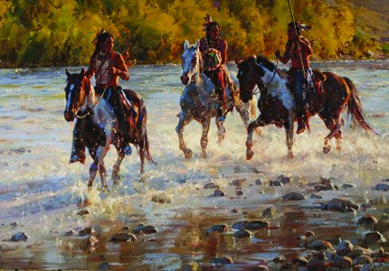 Jason Rich Studios 'On the Shimmering Trail' Western Wall Art Giclée Canvas Prints | Plains Indians Series | Award Winning Artist | Member of Cowboy Artists of America (Limited Edition (12x17)) (2015 Calendar Kirby compare prices)