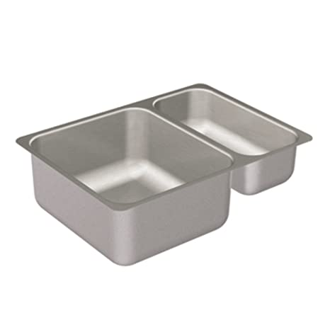 Moen G20273 2000 Series 20-Gauge Double Bowl Undermount Sink, Stainless Steel