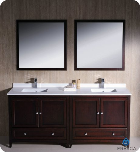 "Fresca Oxford 72"" Mahogany Traditional Double Sink Bathroom Vanity front-925743"