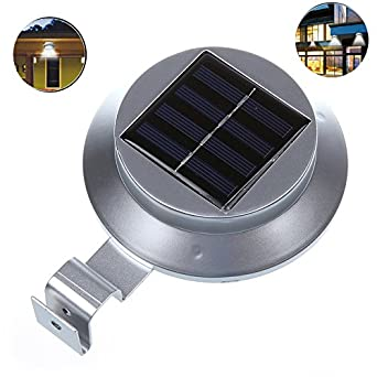 dbpower silber 3led solar fence light led solar dachrinnen light solar led wandleuchte. Black Bedroom Furniture Sets. Home Design Ideas