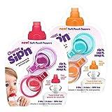 ChooMee Sip'n - Bolsita con control de flujo y tapa para alimentos de bebés, color naranja, rojo, morado y azul