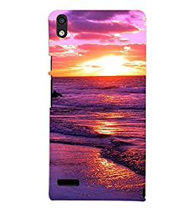 PrintVisa Travel Beach Sunset Design 3D Hard Polycarbonate Designer Back Case Cover for Huawei Acend P6