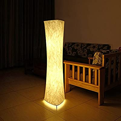 "Saleting 52"" SOFTLIGHTING Floor lamp Fabric Shade Simple Shape for Living room, Color White"