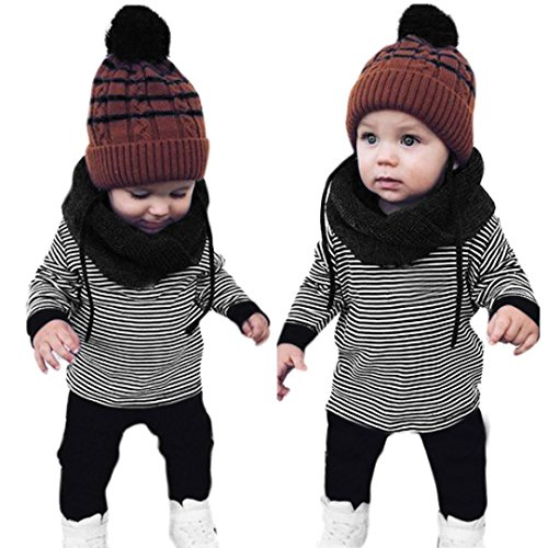 Franterd Baby Toddler Boys Stripe Outfit Clothes Set, Warm T-shirt Tops+Long Pants