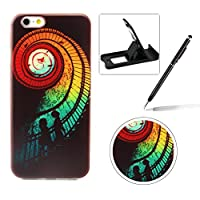 iPhone 5C [Perfect-Fit] Case,iPhone 5C TPU Silicone Soft Gel Bumper Case Cover,Herzzer Fashion Ultra Slim [Rainbow Stairs Pattern] Full Protection Bumper Scratchproof Flexible Rubber Jelly Protective Back Cover Case for iPhone 5C + 1 x Black Cellphone Kickstand + 1 x Black Stylus Pen