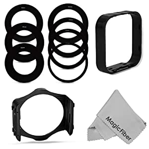 Square Filter Kit Compatible with Cokin P Series - Includes: 52, 55, 58, 62, 67, 72, 77MM Adapter Rings + Square Filter Holder + Square Lens Hood + Premium MagicFiber Microfiber Cleaning Cloth