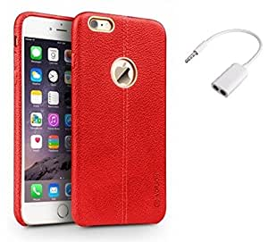 YGS Vorson Lexza Series Double Stitch Leather Shell with Metallic Logo Display Back Cover For Apple iPhone 5G -Red With Audio Splitter