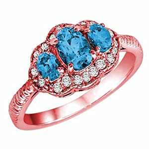 DivaDiamonds 10K Rose Gold Oval Blue Topaz and Diamond Ring with Decorated Shank - Size 6