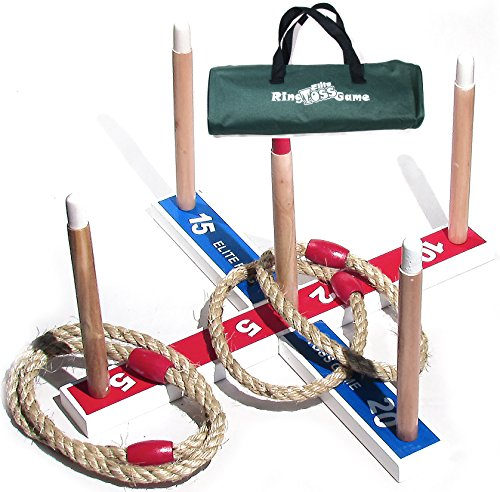 Elite Ring Toss Game - Children's or Family Outdoor Quoits Game - Compact Carry Bag Included Plus 10 Extra Rings FREE (Washers Game Rings compare prices)