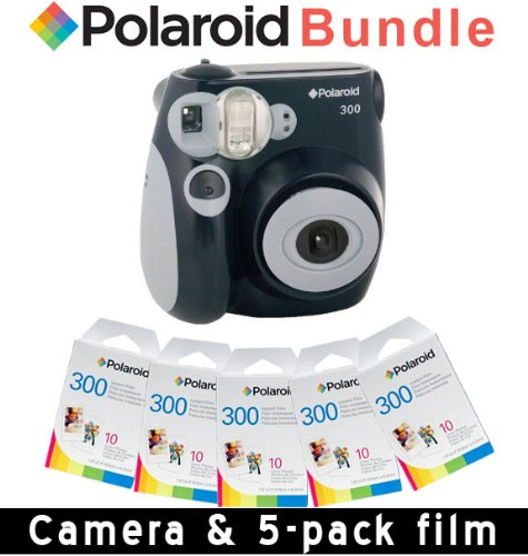 Polaroid PIC-300 Instant Camera in Black + 5 PACK OF PRINT PAPER