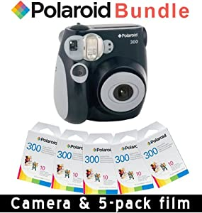 Polaroid PIC-300B Instant Analog Camera (Black) 5 Packs of PIF-300 Instant Film for 300 Series Cameras