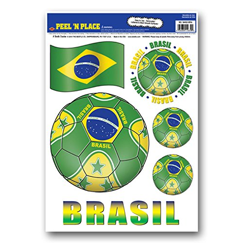 Beistle Peel 'N Place Stickers, 12-Inch By 17-Inch, Brazil front-916174