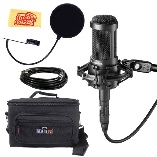Audio-Technica At2035 Large Diaphragm Studio Condenser Microphone Bundle With Gear Bag, Pop Filter, Shock Mount, Xlr Cable, And Polishing Cloth