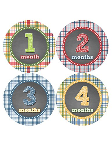 Months in Motion 437 Monthly Baby Stickers Age Sticker Photo Prop Newborn Boy Plaid - 1