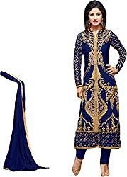 Heavy Georgette Embroidered Straight Dress Material